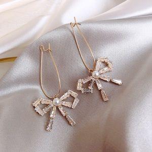 Crystal Bow Earrings French Pearl Dangle Earrings